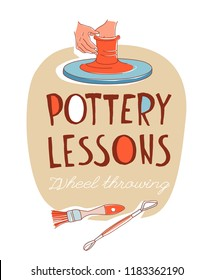 Clay Pottery Lessons Studio. Artisanal Creative Craft logo concept. Handmade traditional pottery making, hands shaping vase on spinning wheel red clay hand drawn vector illustration doodle style