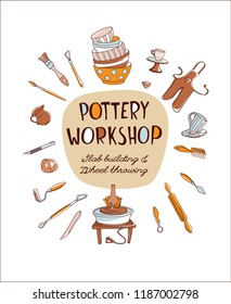 Clay Pottery Workshop Studio invitation. Artisanal Creative Craft logo concept. Handmade traditional pottery making, hand drawn vector illustration doodle style