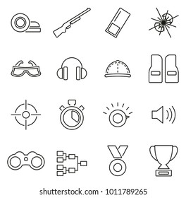 Clay Shooting or Skeet Shooting Icons Thin Line Vector Illustration Set
