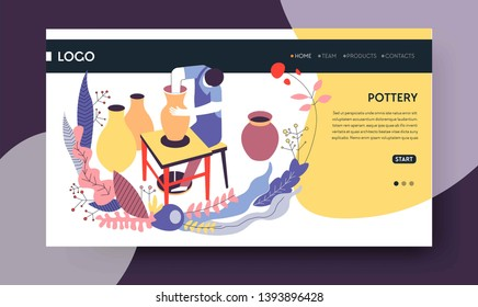 Clay vases pottery hobby online classes landing web page template vector man and ceramic products handmade dishware production video lessons Internet site mockup craft DIY workshop or master class
