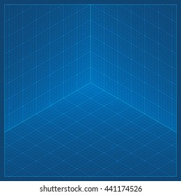 Clean isometric blueprint page background millimeter stock photo clean 3d blueprint page background perspective isometric grid texture background in dark blue colors malvernweather Image collections