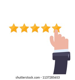 Clean 5 star rating with hand. Modern flat Vector illustration