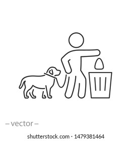 clean after dog icon, up bag with poop, thin line symbol on white background - editable stroke vector illustration eps 10