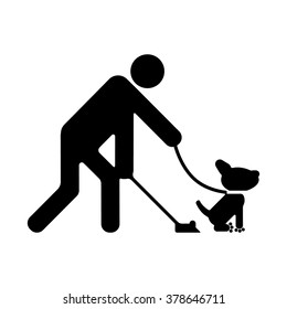 Clean up after your dog. Ecological cleanliness of the environment, taking care of pets.