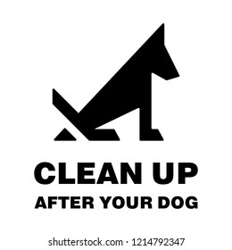 Clean up after your dog stop pooping silhouette. Vector illustration.