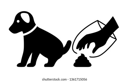 Clean up after your dog vector icon isolated on white background