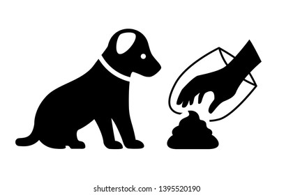 Clean after your dog vector icon isolated on white background