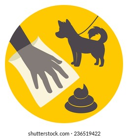 Clean up after your pet, abstract signal, vector illustration