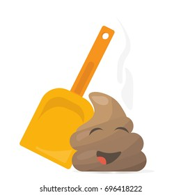 Clean Up After Your Pet vector illustration with a cartoon  kawaii poop emoticon or emoji. Great as a sign promoting picking up poo or shit after pets. Kawaii Poop character.