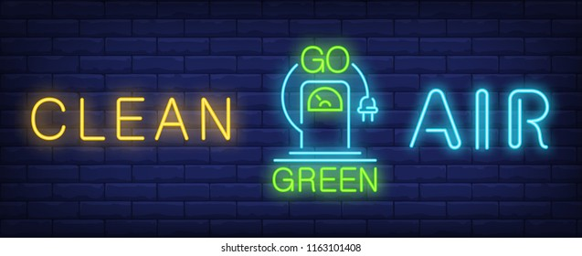 Clean air go green neon sign. Electric car charging station with plug on brick wall background. Vector illustration in neon style for alternative fuel promotion and car industry