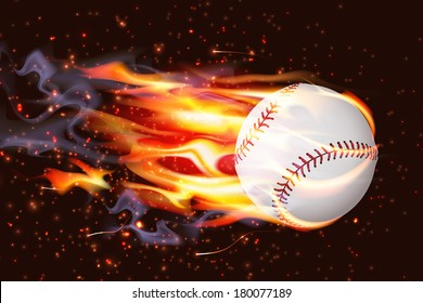 Clean baseball speeding through the air on fire