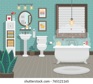 Clean bathroom with toilet sink bath and accessories in a modern style. Flat vector illustration.