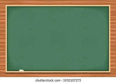 Clean blackboard on wood background, vector eps10 illustration