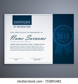 clean blue certificate of appreciation template design