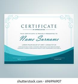 clean blue certificate design modern template