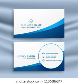 clean blue wavy business card design