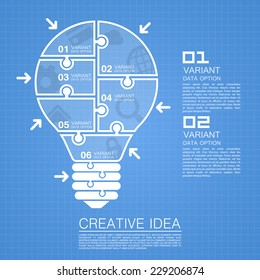 Clean Blueprint Page Background, Bulb idea of working with puzzles. Vector illustration