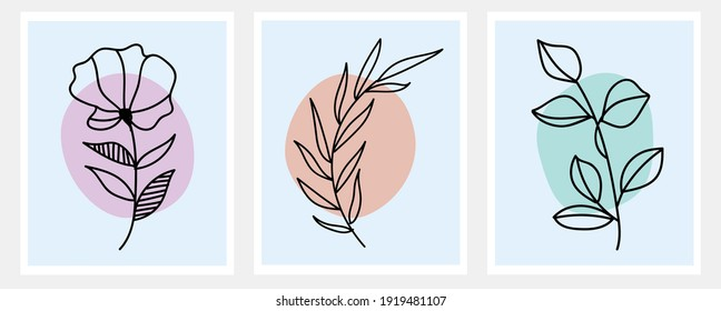 Clean botanical plant art vector set for poster cover, flyer, notebook and wall art. Minimal plant vector illustration.