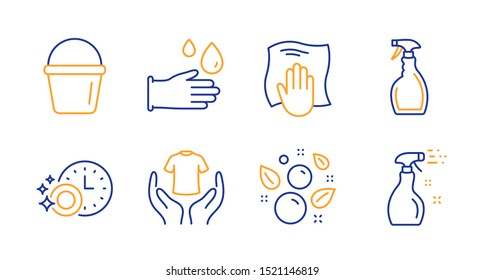 Clean bubbles, Bucket and Washing cloth line icons set. Hold t-shirt, Spray and Rubber gloves signs. Dishwasher timer, Cleaning spray symbols. Laundry shampoo, Washing equipment. Vector