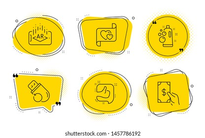 Clean bubbles, Love letter and Receive money signs. Chat bubbles. Flash memory, Augmented reality and Like line icons set. Recovery usb, Phone simulation, Thumb up. Laundry shampoo. Vector