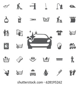 Clean car with a sparkle icon on the white background. Set of cleaning icons