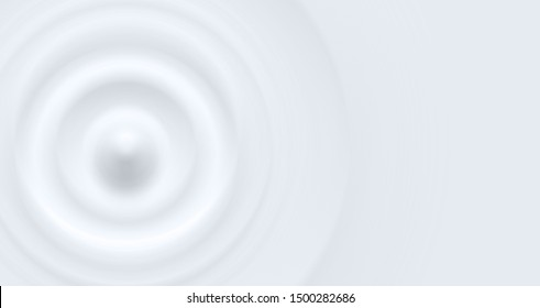 Clean cold white milky waterdrop circle waves, vector illustration