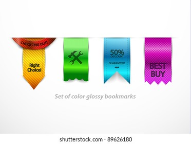 Clean color vector bookmarks
