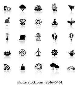 Clean concept icons with reflect on white background, stock vector