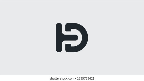 Clean D letter logo icon sign vector design. HD and TD Company symbol.