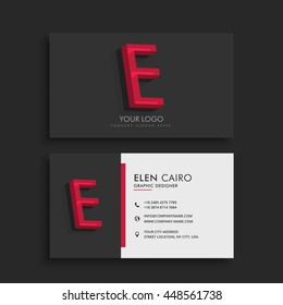 clean dark business card with letter E