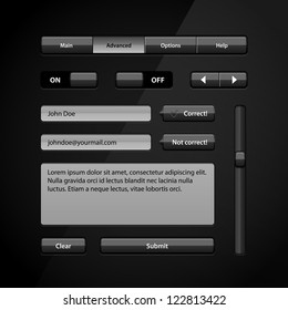Clean Dark User Interface Controls 5. Web Elements. Website, Software UI: Buttons, Switchers, Arrows, Navigation Bar, Menu, Search, Comments, Scroll, Scrollbar, Input, Text Box Area