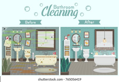 Clean and dirty bathroom with toilet sink bath and accessories in a modern style. A concept for cleaning companies. Before and After Cleaning. Flat vector illustration.