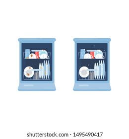 Clean and dirty dishes inside of open dishwasher - before and after comparison of plates and glasses in kitchenware washing machine - flat isolated cartoon vector illustration