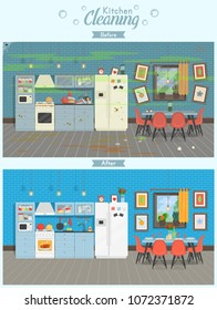 Clean and dirty kitchen with table, fridge, kitchen stove, cupboard dishes in a modern style. A concept for cleaning companies. Before and After Cleaning. Flat vector illustration.