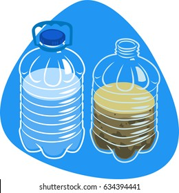 Clean and dirty water in plastic bottles. Plastic bottle for water with cap and handle. Isolated. On blue background.