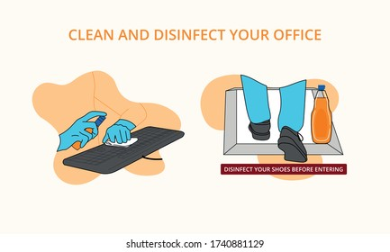 clean and disinfect your computer keyboard clean your shoes before entering the office