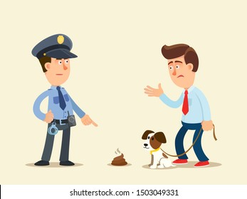 Clean up dog shit. Policeman talking with dog owner about fine penalty for not cleaning dog shit. Vector illustration, flat design, cartoon style. Isolated background.