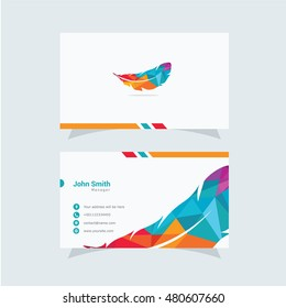Clean and Elegant Feather Logo and Business Card Design