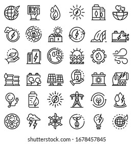 Clean energy icons set. Outline set of clean energy vector icons for web design isolated on white background