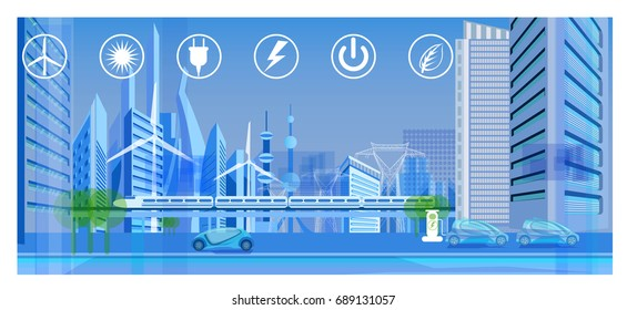 Clean energy infography - vector illustration