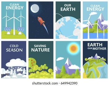Clean energy on Earth, cold season, saving nature and Earth our mother agitation ecology day posters vector illustrations set.