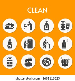 clean filled icon coronavirus theme set. Included icons as washing hands, hand washing, soap, antiseptic, disinfect, washing hand, petri dish, avoid crowds and more