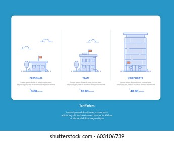 Clean Flat Creative Set Web Tariffs: Personal, Team, Corporate. Interface for the site. UI UX vector banner for web app. Pastel pricing table, banner, list with tariff plan for website in flat design.