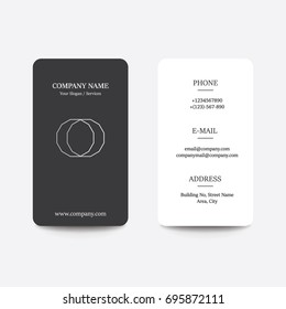 Clean Flat Design Black and White Style two Business Visiting Card