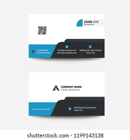 Clean Flat Design Plain Blue Corporate Business Visiting Card