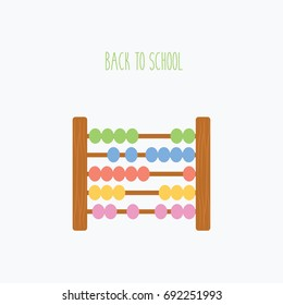 clean flat design style simple colorful wooden abacus beads calculation vector icon. modern calculation math for kids & children. back to school