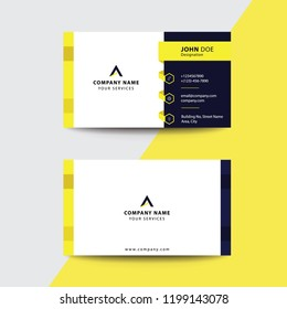 Clean Flat Premium Minimal Style Yellow Black Corporate Business Visiting Card