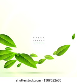 clean flying green leaves background