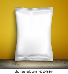 Clean foil packaging for food is against yellow wall. Blank white template packaging for snacks for your design, vector illustration