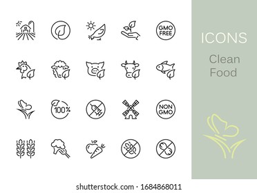 Clean Food outline icons. Set of 20 Clean Food outline icons, vector illustrations. Contains such as: chicken, farm, non-gmo, wheat, sheep and more.